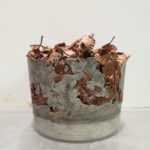 'Beech Cup' - concrete and beech leaves.